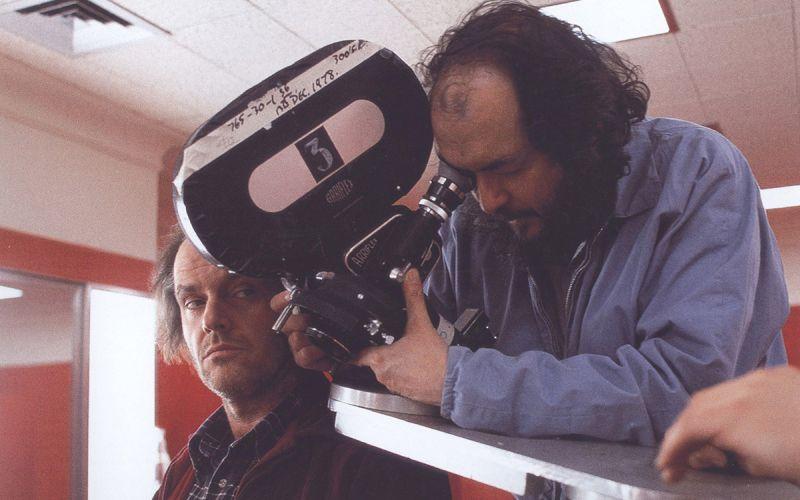"Stanley Kubrick di fianco a Jack Nicholson sul set di ""Shining"""