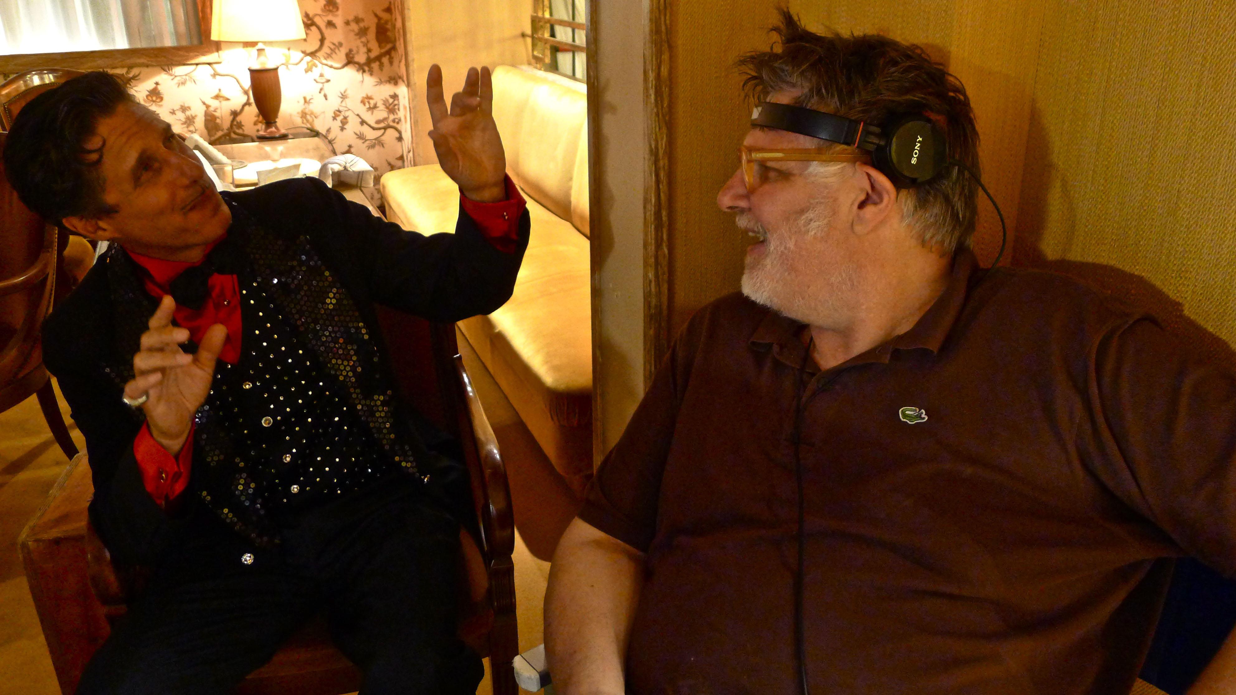 Raul Cremona in un momento allegro sul set con Mazzacurati (Foto Emilia Mazzacurati)