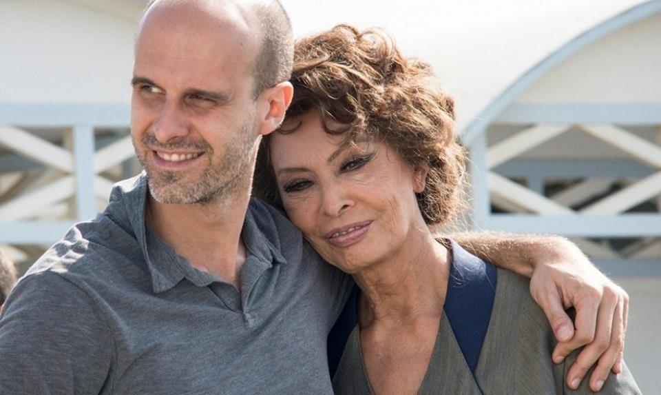 Sofia Loren insieme al regista e suo figlio Edoardo Ponti