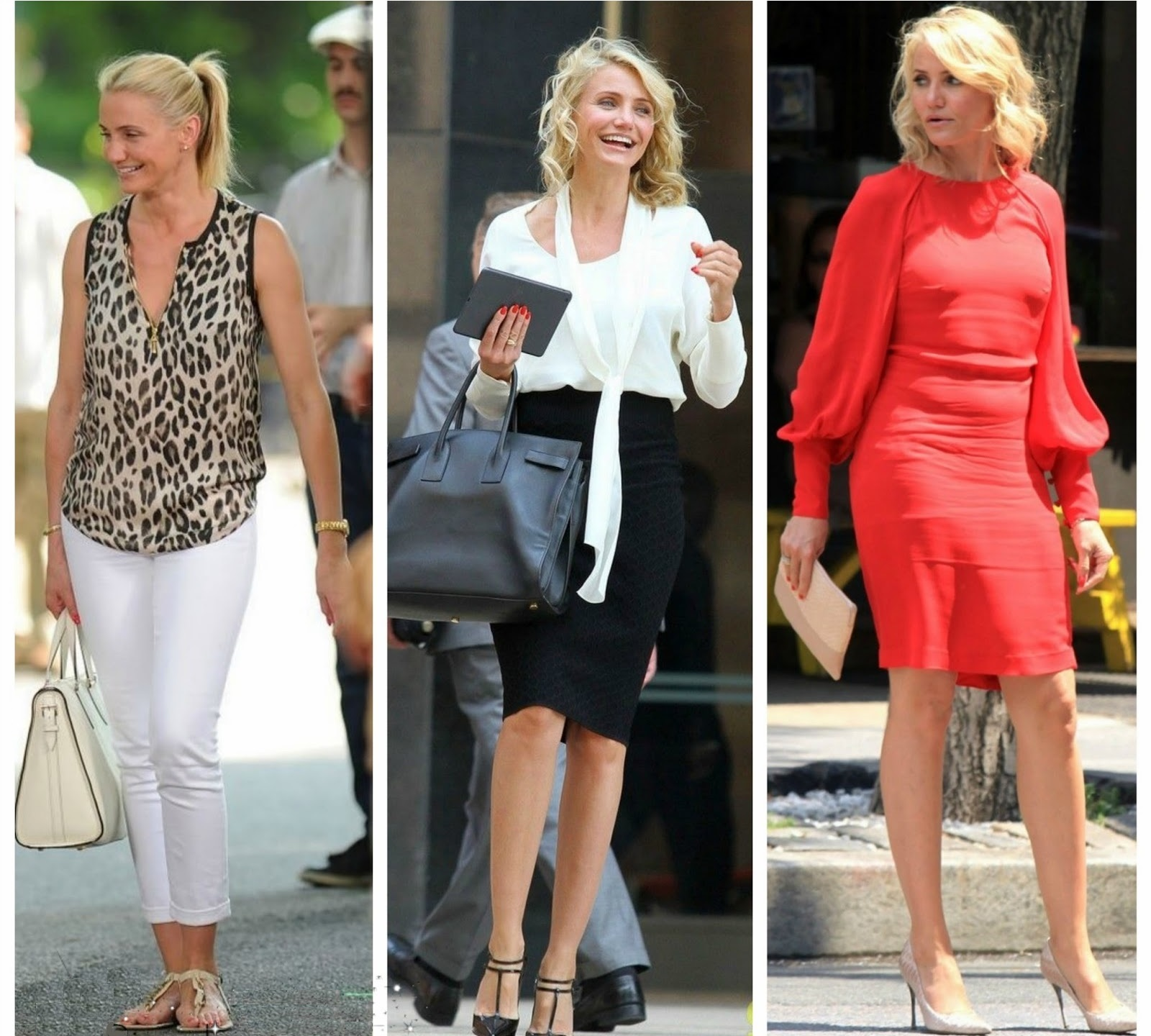 Cameron Diaz in tre diversi stili