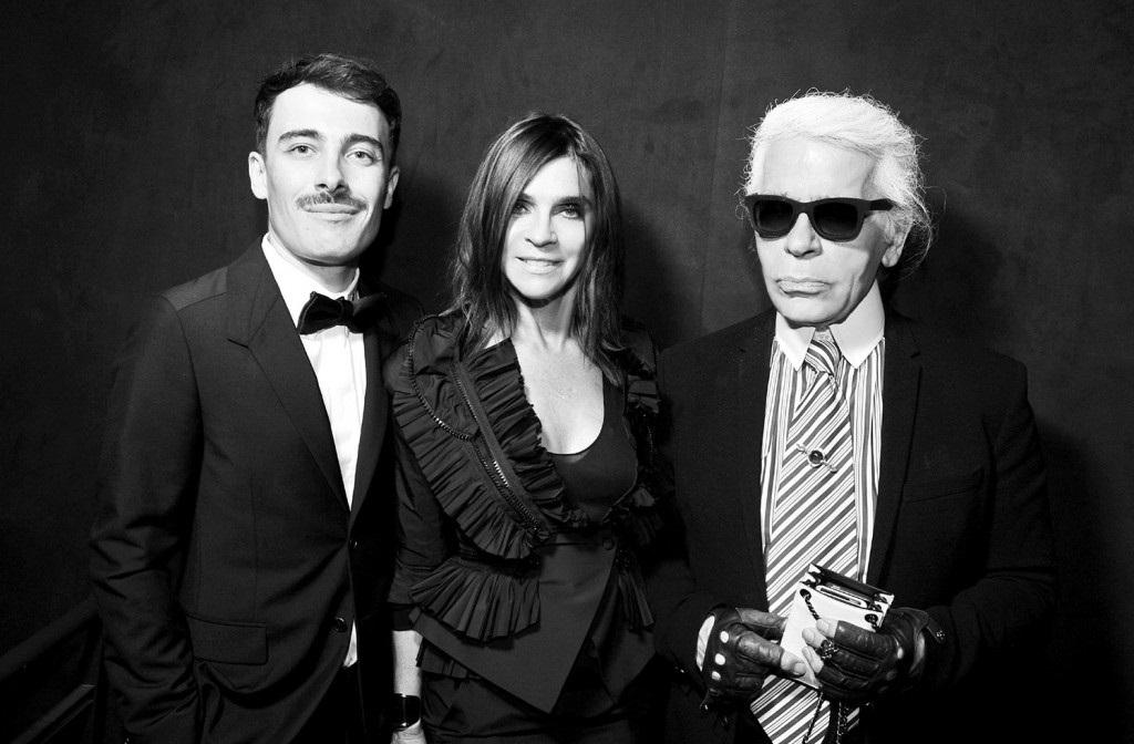 Fabien Constant con Carine Roitfeld e Karl Lagerfeld