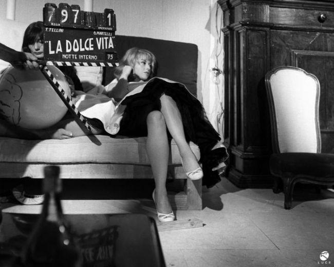 """Dal set de """"La Dolce Vita"""" (1959)"""