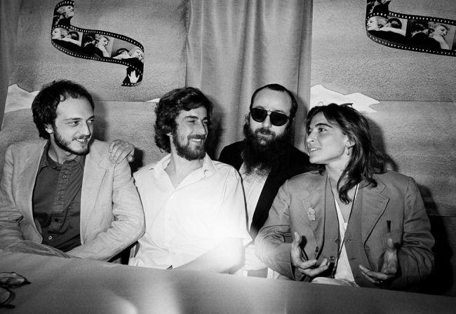 """1978, """"Ecce Bombo"""": Lina insieme a Fabio Traversa, Nanni Moretti e Paolo Zaccagnini"""