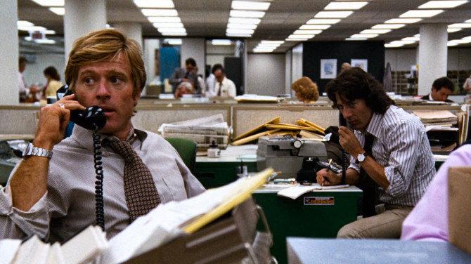 """Con Dustin Hoffman in """"Tutti gli Uomini del Presidente"""" (1976)"""