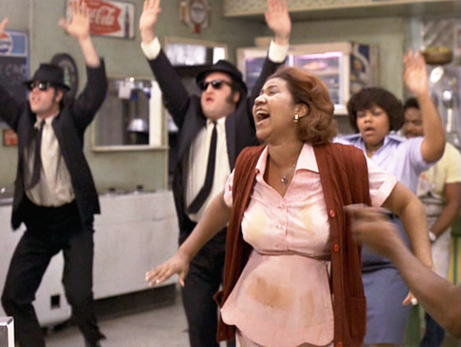 "La celebre performance di Aretha Franklyn in ""Blues Brothers"""