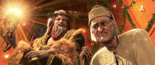 """Lo spirito del Natale in """"A Christmas Carol"""" in cui Babbo Natale è vestito di verde"""