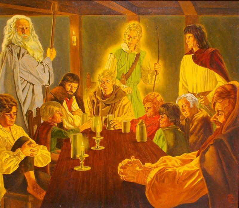 Il concilio di Elrond illustrato da Peter Caras - tavola originale in mostra