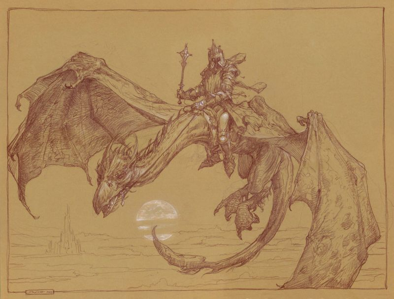 Il terribile Nazgul illustrato da Donato Giancola - tavola originale in mostra