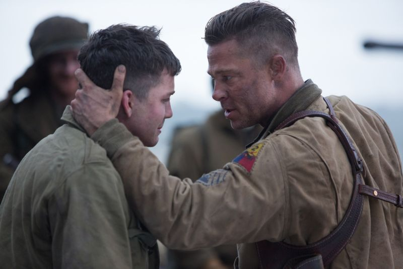 Wardaddy (Brad Pitt) with Norman (Logan Lerman)