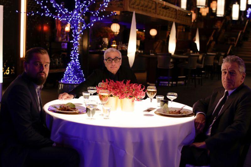 Martin Scorsese tra Leonardo DiCaprio e Robert De Niro