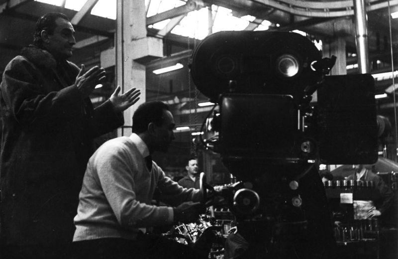 Luchino Visconti sul set del film con il direttore della fotografia Giuseppe Rotunno