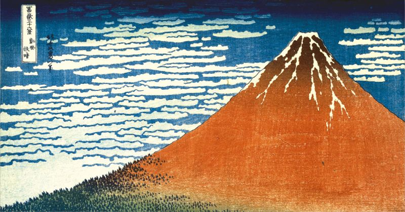Clear day with a southern breeze ('Red Fuji') from Thirty-Six Views of Mt Fuji. Colour woodblock, 1831. British Museum.