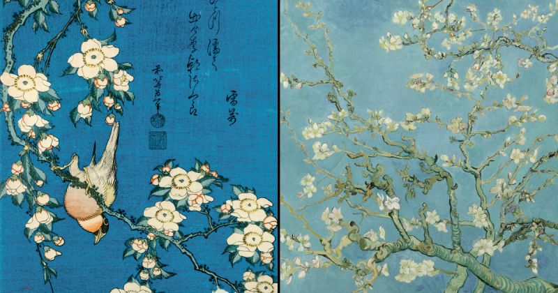 Weeping cherry and bullfinch. Colour woodblock print, c. 1834. Almond Blossom, oil on canvas 1890. Van Gogh Museum. Vincent van Gogh