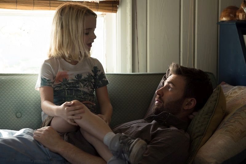 "Mckenna Grace as ""Mary Adler"" and Chris Evans as ""Frank Adler"" in the film GIFTED. Photo by Wilson Webb. © 2017 Twentieth Century Fox Film Corporation All Rights Reserved."