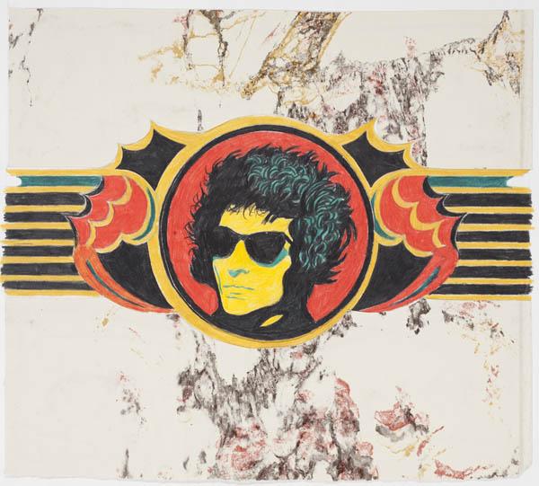 """11.Archizoom Associati, Decoro """"Dylan"""", 1967, matita e pastello su carta applicata su cartoncino, mm 1000 x 700"""