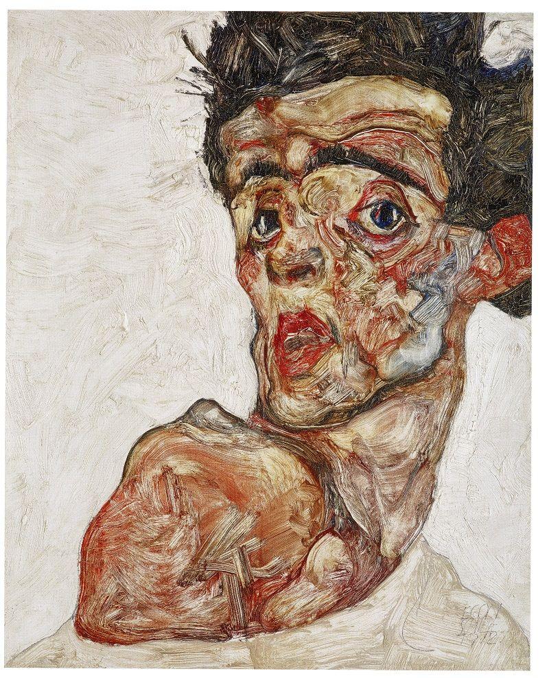 Egon Schiele, Autoritratto con spalla nuda sollevata © Foto: Leopold Museum, Wien / M. Thumberger