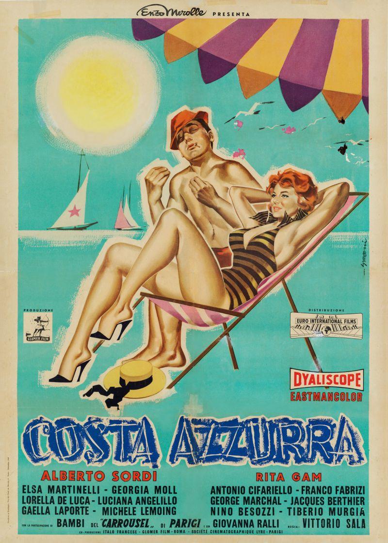 Costa Azzurra, 1959 Regia Vittorio Sala, manifesto di Sandro Symeoni, cm 140x100