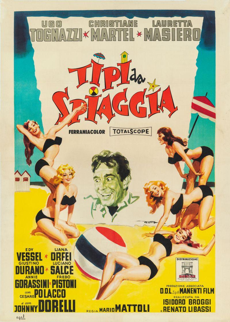 Tipi da spiaggia, 1960 Regia Mario Mattoli, manifesto di Enrico De Seta, cm 140x100