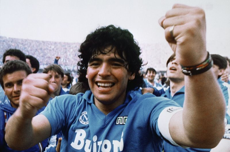 Mandatory Credit: Photo by Meazza Sambucetti/AP/Shutterstock (7332841a) Diego Maradona Argentine soccer superstar Diego Armando Maradona cheers after the Napoli team clinches its first Italian major league title in Naples on Diego Maradona, Naples, Italy