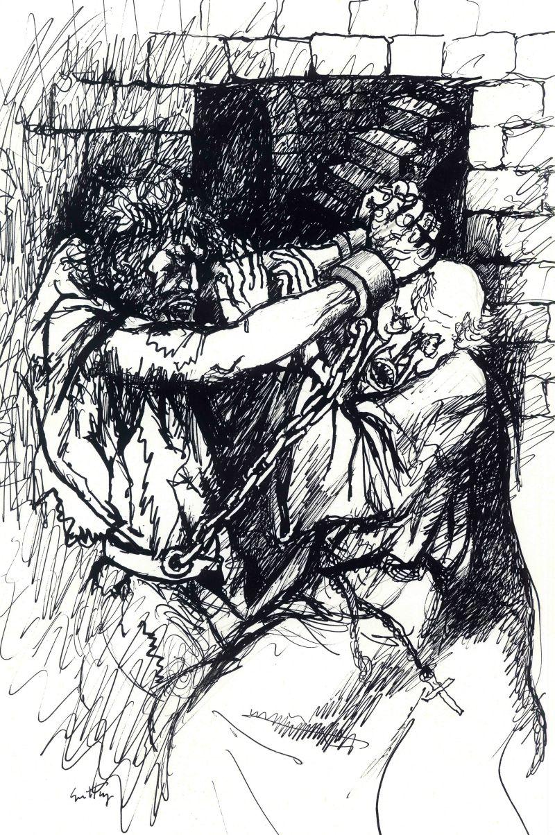"""Illustrazione di Renato Guttuso per """"Morte Dell'Inquisitore"""""""