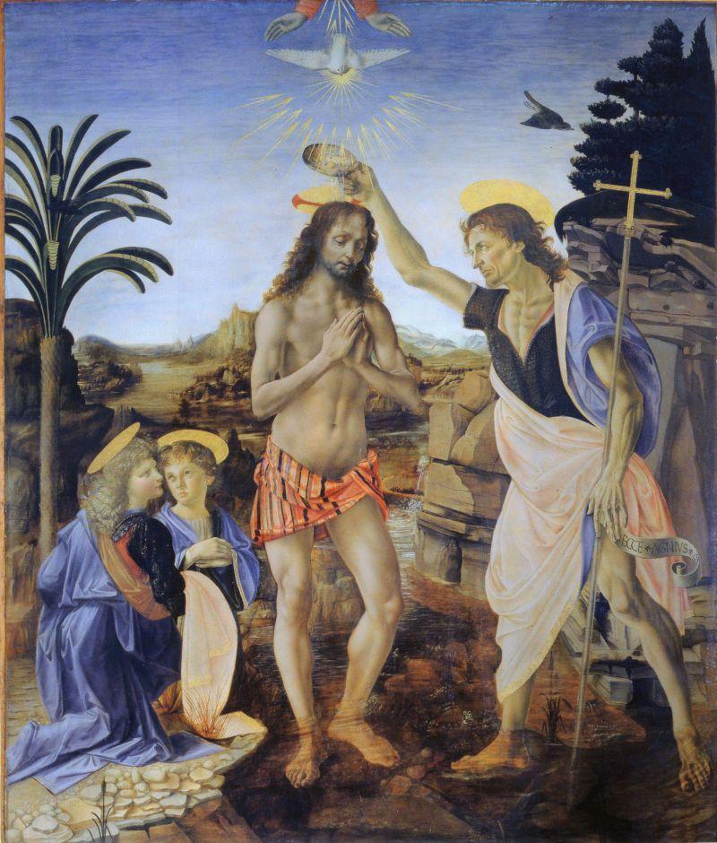 Andrea Verrocchio & Leonardo da Vinci, Baptism of Christ, 1470-80, Uffizi Gallery, Google Art Project