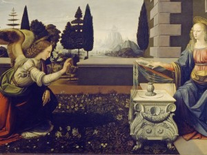 Leonardo da Vinci, The Annunciation, c. 1472, Uffizi Gallery, Google_Art_Project