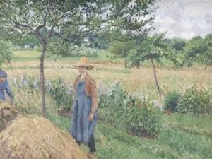 """Camille Pisarro """"Gardener standing by a Haystack, overcast sky, Eragny"""" 1899"""
