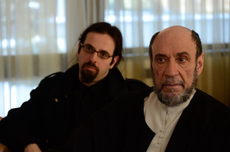 F Murray Abraham e il regista Louis Nero sul set del film Il Mistero di Dante- foto di Simone Nepote Andrè