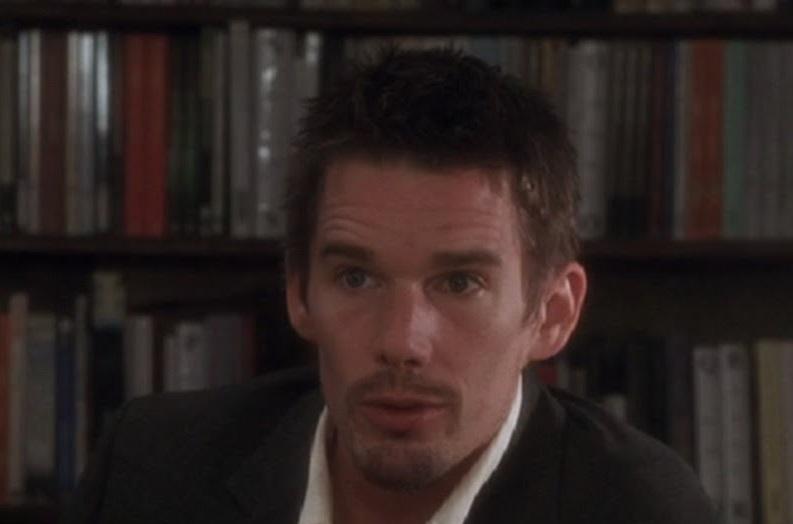 """Ethan Hawke in """"Before Sunset"""" (nella stessa libreria dove ha presentato """"Le Regole Del Cavaliere"""")"""