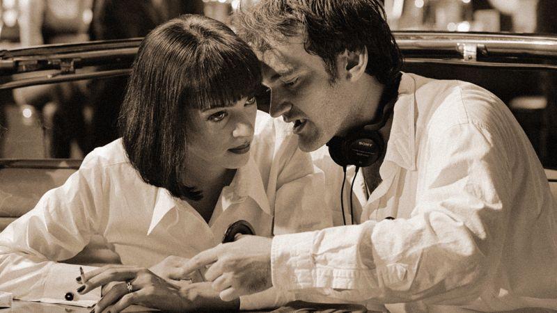 """Quentin Tarantino con Uma Thurman sul set di """"Pulp Fiction"""""""