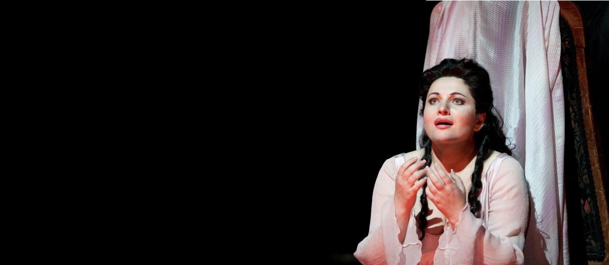 """Hibla Gerzmava as Antonia in Offenbach's """"Les Contes d'Hoffmann.""""Photo: Marty Sohl/Metropolitan OperaTaken during the rehearsal on September 24, 2010 at the Metropolitan Opera in New York City."""