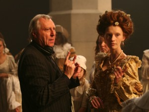 Peter Greenaway and Agata Buzek as Titia on the set NIGHTWATCHING