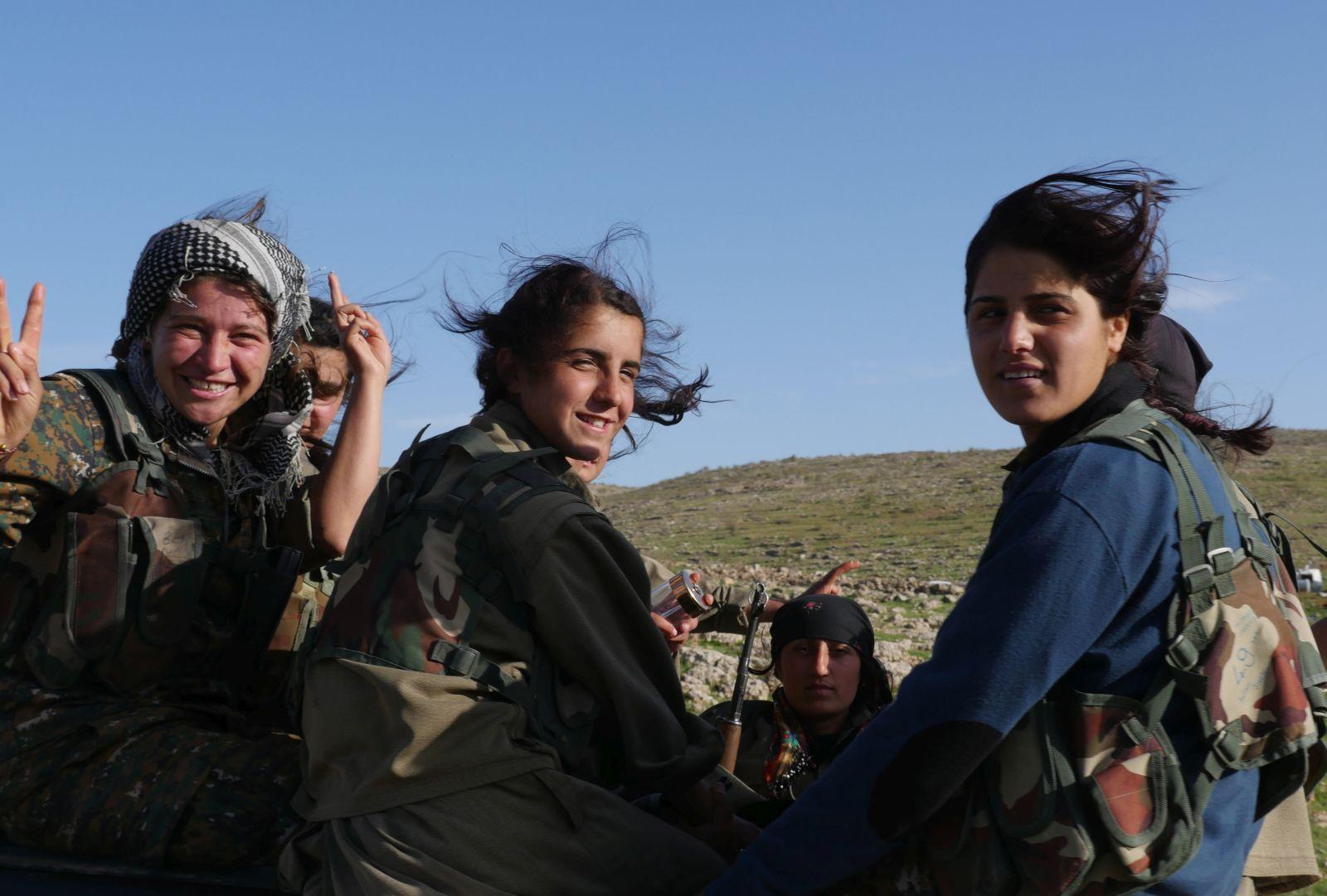 Some kurds guerrilla women in Sinjar